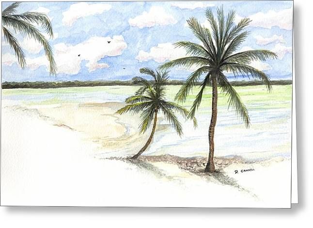 Palm Trees On The Beach Greeting Card