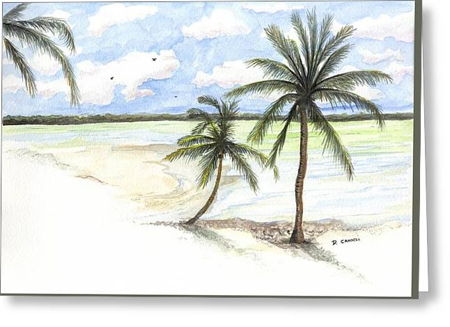 Greeting Card featuring the painting Palm Trees On The Beach by Darren Cannell