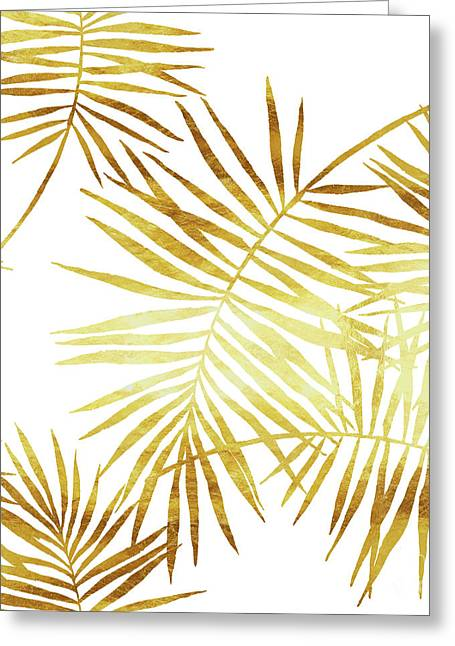 Palmes Dor Golden Palm Fronds And Leaves Greeting Card by Tina Lavoie