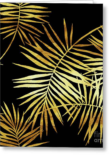 Palmes Dor Noir Golden Palm Fronds And Leaves Greeting Card by Tina Lavoie