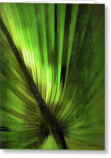 Palmetto Embrace-green Textured Greeting Card by Marvin Spates