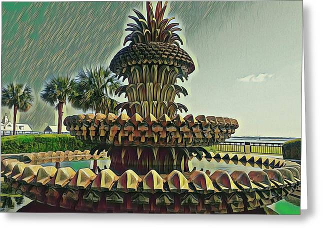 Palms And Pineapples Greeting Card