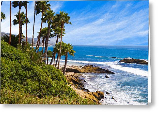 Palms And Seashore California Coast Greeting Card