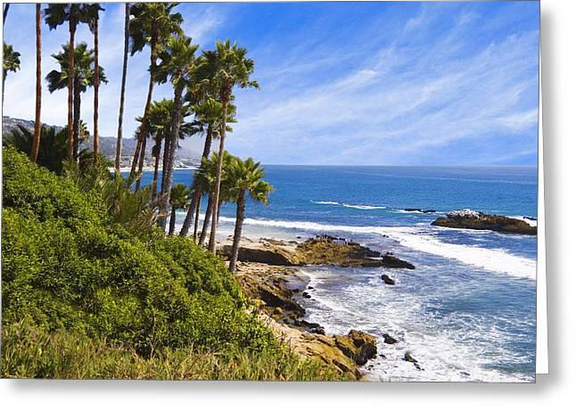 Palms And Seashore Laguna Beach California Coast Greeting Card by Utah Images