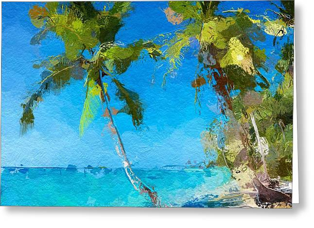 Palms Beach Abstract  Greeting Card
