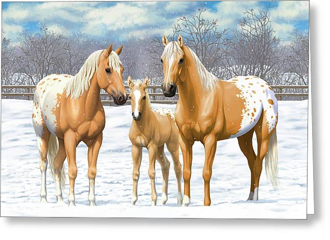Greeting Card featuring the painting Palomino Appaloosa Horses In Winter by Crista Forest