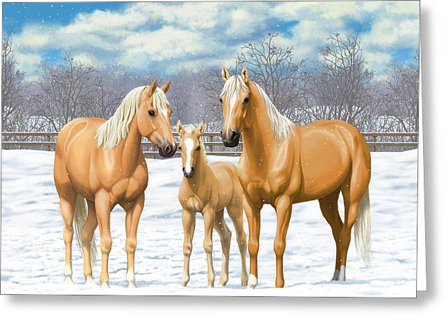 Palomino Horses In Winter Pasture Greeting Card