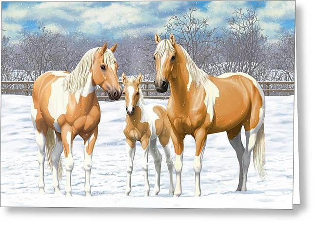 Palomino Paint Horses In Winter Pasture Greeting Card by Crista Forest