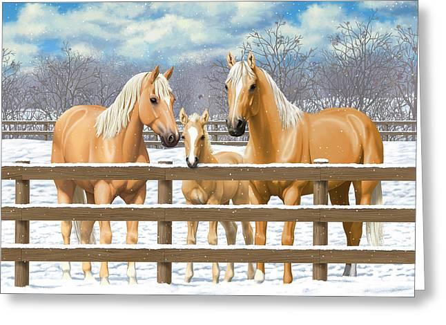 Palomino Quarter Horses In Snow Greeting Card