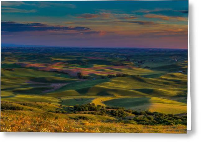 Palouse Sunset Greeting Card by Thomas Hall