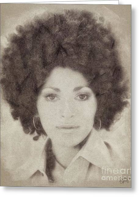 Pam Grier, Vintage Actress Greeting Card by John Springfield