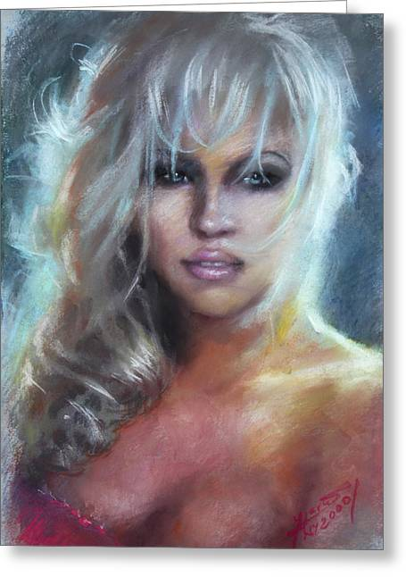 Pamela Anderson Greeting Card by Ylli Haruni