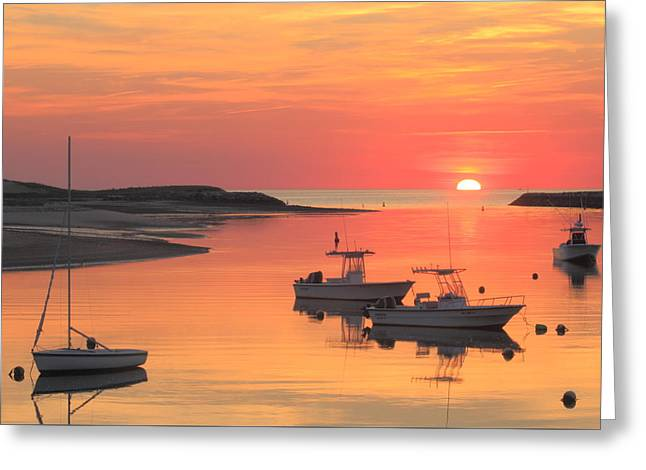 Pamet Harbor Cape Cod Truro Sunset Greeting Card by John Burk
