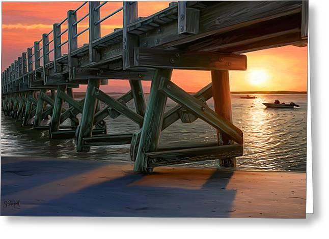 Pamet Harbor Sunset Greeting Card by Sue  Brehant