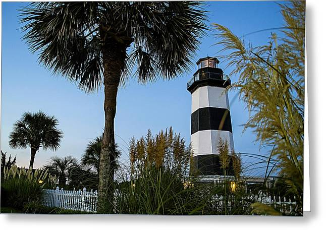 Pampas Grass, Palms And Lighthouse Greeting Card