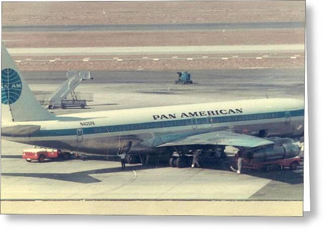Pan Am 707-321 At Los Angeles International Airport Greeting Card