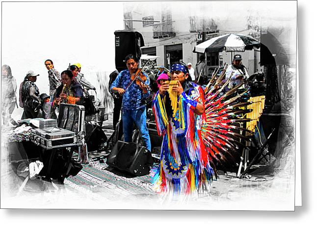 Pan Flutes In Cuenca Greeting Card by Al Bourassa