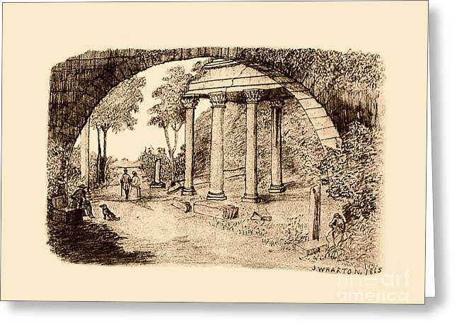 Pan Looking Upon Ruins Greeting Card