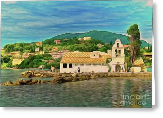 Greeting Card featuring the photograph Panagia Vlacherna Church - Pontikonisi - Corfu by Leigh Kemp