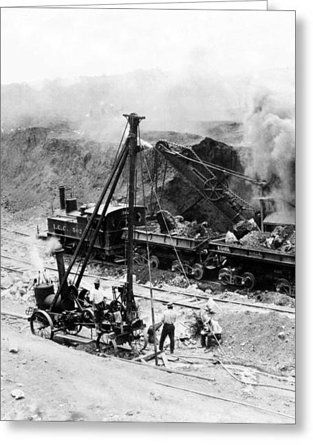 """hard Work"" Greeting Cards - Panama Canal - Construction - c 1910 Greeting Card by International  Images"