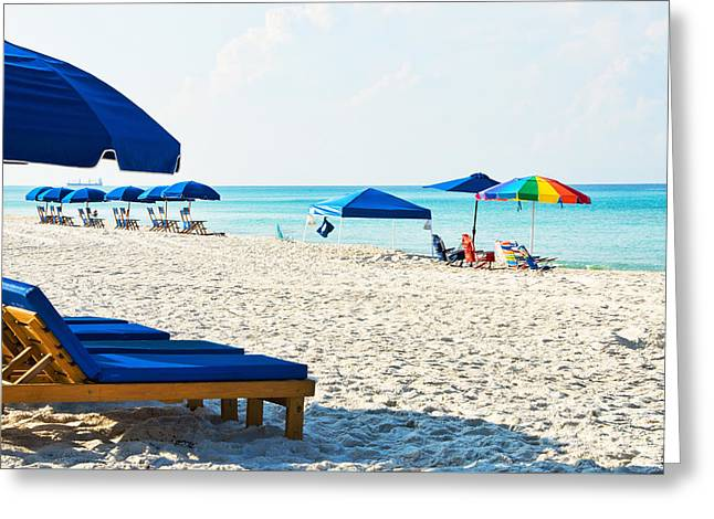 Panama City Beach Florida With Beach Chairs And Umbrellas Greeting Card by Vizual Studio