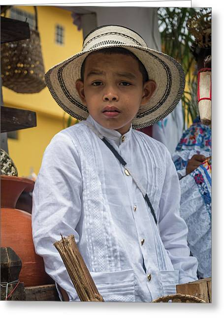 Panamanian Boy On Float In Parade Greeting Card