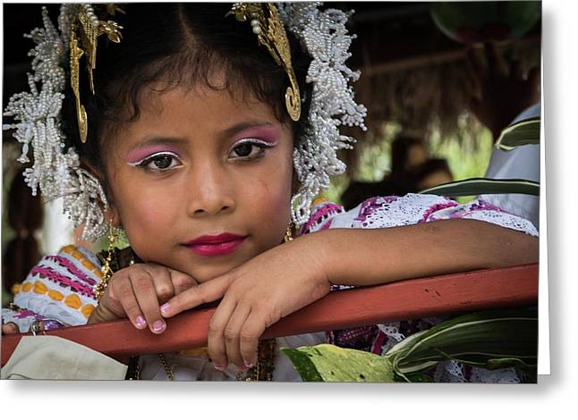Panamanian Girl On Float In Parade Greeting Card