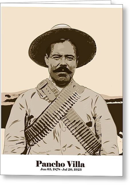 Greeting Card featuring the digital art Pancho Villa by Antonio Romero