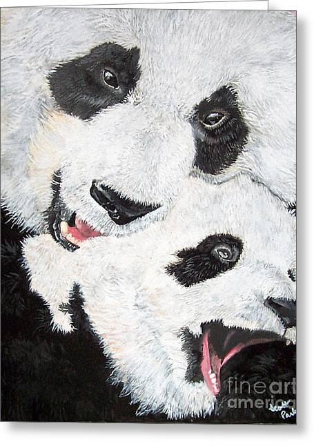 Panda And Baby Greeting Card