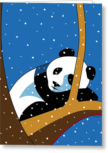 Panda At Peace Greeting Card by Ron Magnes