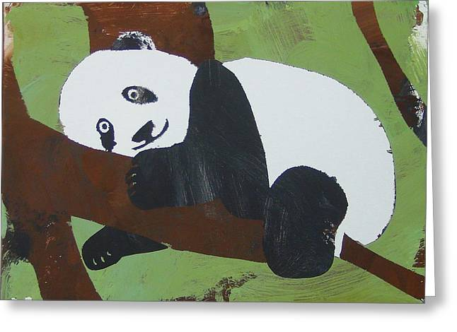 Greeting Card featuring the painting Panda Baby by Candace Shrope
