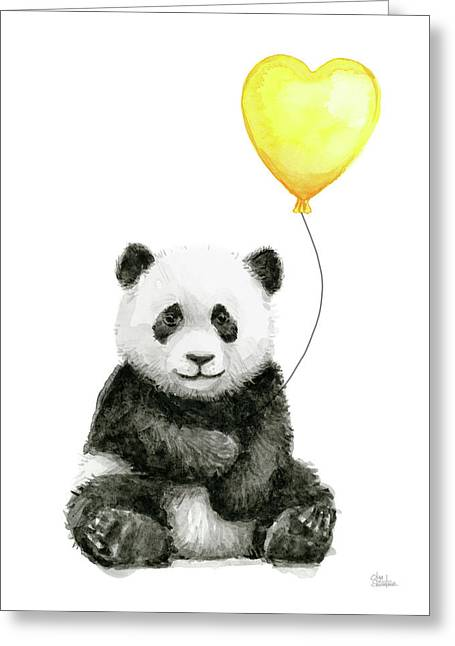 Panda Baby With Yellow Balloon Greeting Card