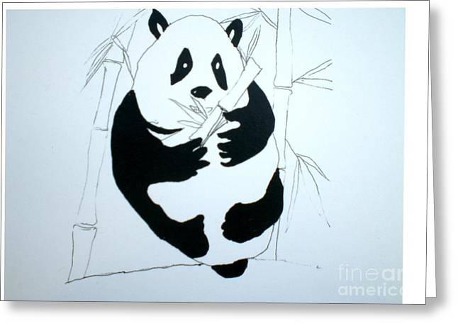 Panda Bear And Bamboo Greeting Card by Hal Newhouser