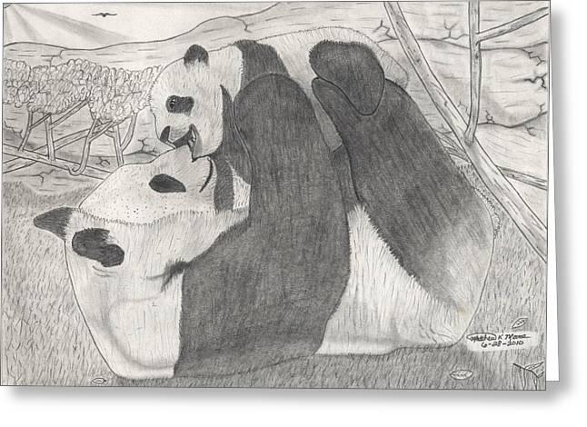 Panda Family Greeting Card by Matthew Moore