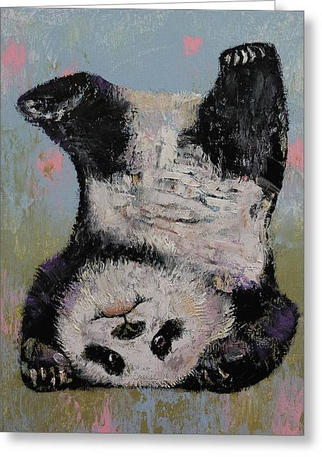 Panda Headstand Greeting Card by Michael Creese