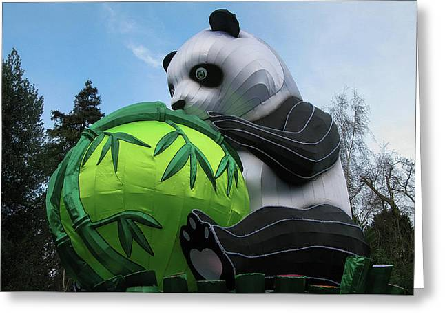 Panda Holding Bamboo Tree Greeting Card by Maria Joy