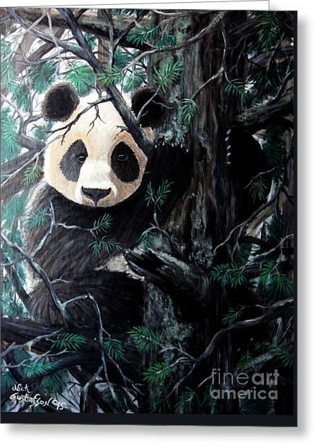 Panda In Tree Greeting Card by Nick Gustafson