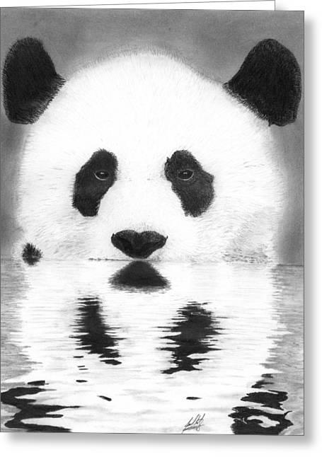 Panda In Water Drawing Greeting Card