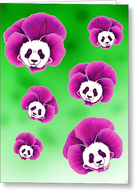 Panda Pansies Greeting Card