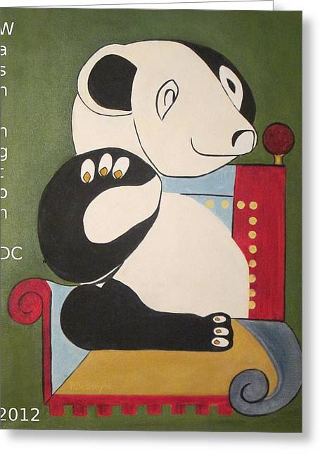 Panda Picasso Greeting Card by Patricia Cleasby