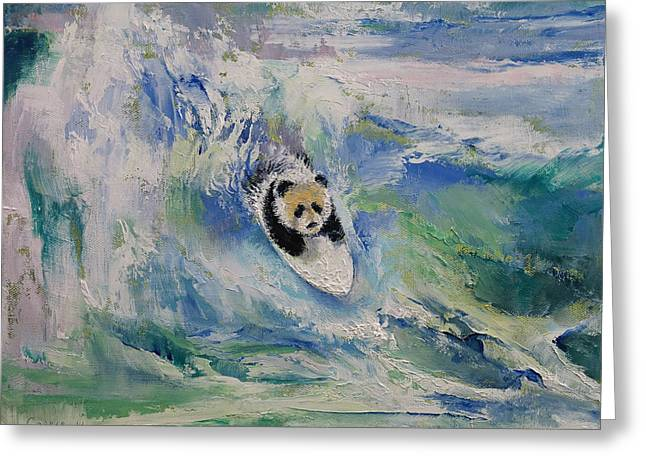 Panda Surfer Greeting Card by Michael Creese