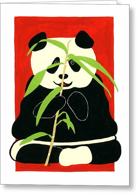 Greeting Card featuring the painting Panda With Bamboo by Terry Taylor