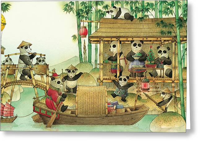 Pandabears Christmas 03 Greeting Card by Kestutis Kasparavicius