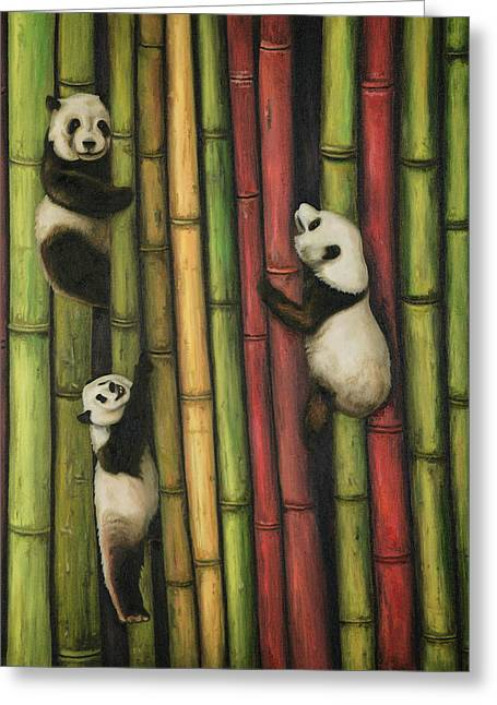 Pandas Climbing Bamboo Greeting Card by Leah Saulnier The Painting Maniac