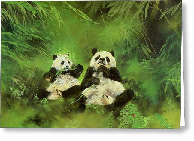 Pandas  Greeting Card by Odile Kidd