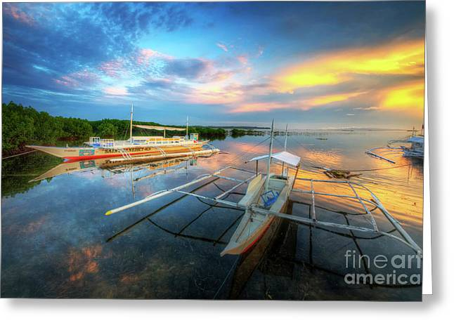 Greeting Card featuring the photograph Panglao Port Sunset 9.0 by Yhun Suarez