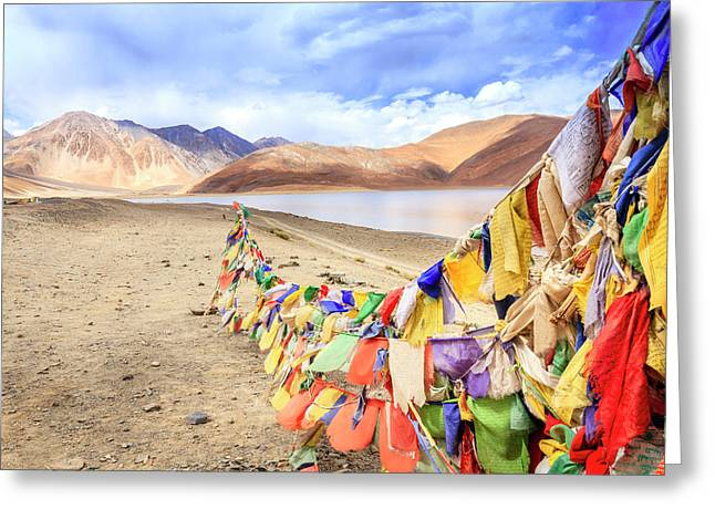 Greeting Card featuring the photograph Pangong Tso Lkae by Alexey Stiop