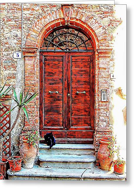 Panicale Cat In Doorway Greeting Card by Dorothy Berry-Lound