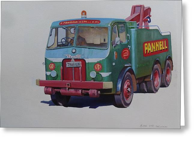 Greeting Card featuring the painting Pannell Leyland Wrecker. by Mike Jeffries