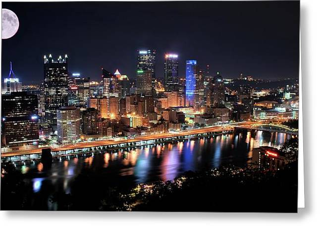Pano And Moon Pittsburgh 2017 Greeting Card